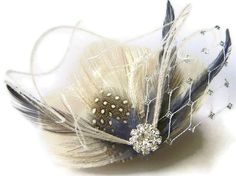 Peacock Hair Clip ENGLISH FOG Ivory and Smoky Blue door maggpieseye, $22.00