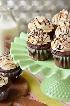 Bailey's Chocolate & Caramel Irish Cream Cupcakes Sounds like fun (;