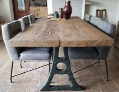 Industrial tables with old cast iron under-carriages | DT-69