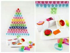 We've found a whole bunch of easy gift wrapping ideas to help pimp your presents. Here are 16 simple ideas to make your gift wrapping awesome. Winter Christmas, Christmas Crafts, Christmas Trees, Paper Tree, Paper Cupcake, Colorful Trees, Christmas Gift Wrapping, Merry And Bright, Wraps