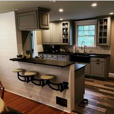 Kitchen Makeover Wall Mounted Swing out Seat / Suspended Cast Iron Swing Arm Home Decor Kitchen, Diy Kitchen, Kitchen Interior, Home Kitchens, Half Wall Kitchen, Awesome Kitchen, Kitchen Island Attached To Wall, Kitchen Layout, Design Kitchen