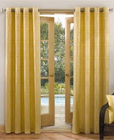 """Sun Zero Carrizo Indoor/Outdoor Woven 52"""" x 95"""" Panel. Gorgeous sunshine yellow drapes. Brighten up the room and bring in a little cheer with these calming yet fun sunshine drapes #afflink #drapes #yellow #yellowdecor #funkthishouse"""