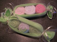 Peapod  Baby Shower Favor Baby Washcloth  Unique Gifts. ?try with little soaps???