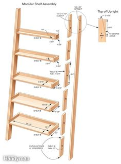 We'll show you everything you need to know to build this handsome shelving unit in a day. The shelves are tough enough to hold books, while its whimsical look makes it a perfect addition to almost any room. It's a great woodworking project to give as a gift or use in your own home. Ladder Shelf Diy, Bookshelf Ladder, Diy Bookcases, Step Shelves, Quilt Ladder, Diy Blanket Ladder, Bookshelf Ideas, Wooden Ladder, Bookshelf Plans