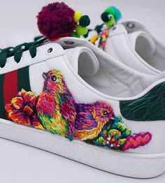 Pinterest: ⇢✷PrettyBlck✷⇠ Gucci sneakers, embroidered by Danielle Clough for the #24HourAce campaign.