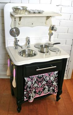 Vintage Nightstand Turned Play Kitchen