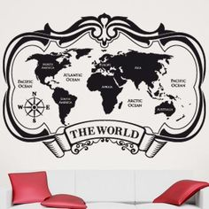 "Style and Apply The World Map Wall Decal Size: 42"" H x 59"" W, Color: Copper"