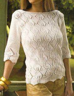 Patrones de Tejido Gratis - Suéter con un calado que simula hojas