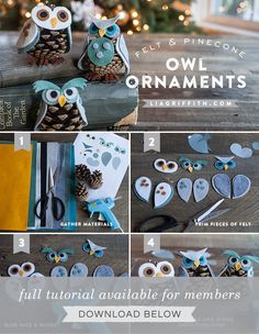 Felt and Pine Cone Owl Ornaments Christmas Activities For Kids, Holiday Crafts For Kids, Easy Christmas Crafts, Halloween Crafts, Pinecone Owls, Owl Ornament, Felt Ornaments, Pine Cone Decorations, Felt Owls