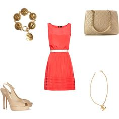 Chanel with Peach Dress, created by anna-farrell on Polyvore