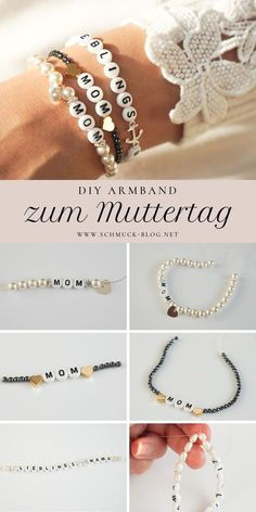 DIY Armband zum Muttertag – MOM Armband DIY gift for Mother's Day crafts ♥ ️ DIY bracelet instructions Diy Jewelry Rings, Diy Jewelry Unique, Diy Jewelry To Sell, Diy Jewelry Making, Jewelry Crafts, Mom Jewelry, Bracelet Crafts, Diy Gifts For Mothers, Mother Gifts