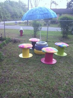 Tires  Spools (Colorful outdoor set!)