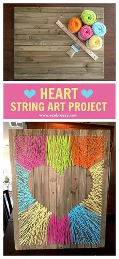 Easy, Fun and Colorful Heart String Art Craft that adds the perfect pop of color to any wall.