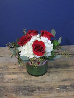 H.J. Benkens #arrangement with #Roses #Hydrangeas #SeededEuc by Benkens.com #valentinesday #Valentines #Valentinesflowers #Cincinnatiohio #cincinnatiohflorist #florist #ohioflorist #flowers #vasearrangement #bouquet #redroses #valentinesgift
