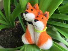 Needle felted Fox engagement gift for couple red fox by Felt4Soul