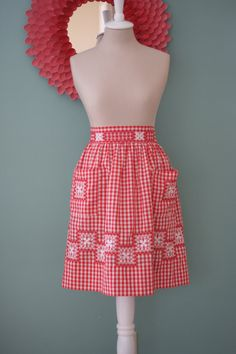 Red and White Gingham Apron with Hand Stitched Pattern