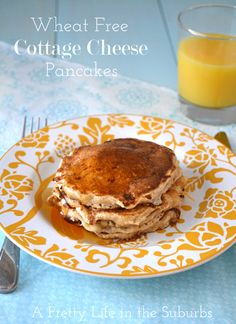 Wheat Free Cottage Cheese Pancakes ---- don't be scared off... the cheese just kind of melts and melds into the pancake...they're not lumpy or chunky ... not at all.