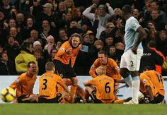 After scoring a goal hull players are in a class in the football pitch!