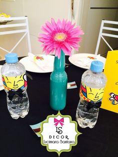 Personalizações garrafas de água Festa Romero Britto