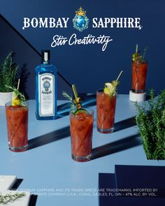 The Smoking Rosemary. 1 Parts Bombay Sapphire Gin, Part fresh lemon juice, Parts fresh orange juice, 4 Parts tomato juice, 4 Dashes of Worceste Gin Drink Recipes, Gin Cocktail Recipes, Easy Cocktails, Summer Cocktails, Cocktail Drinks, Bar Drinks, Yummy Drinks, Alcoholic Drinks, Drink Recipes