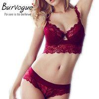 Burvogue New Women Sexy Bra Set Lace Lingerie Bra Set Push Up Bras And Underwear Sets Plus size Adjustable Bra And Panties Set