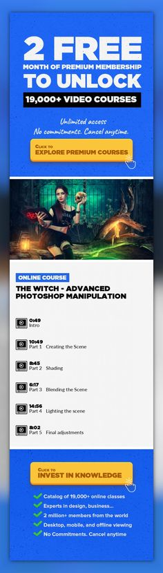 The Witch - Advanced Photoshop Manipulation Photographic Composition, Adobe Photoshop, Graphic Design, Retouching, Creative, Lighting, Manipulation #onlinecourses #onlinelessonshighschools #onlinedegreecolleges   In this advanced manipulation course we will create a fantasy scene using stock photos and 3D objects rendered. The course is structured in 5 parts that cover the most important steps whe...