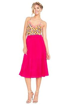 The Sugarlips Divide Pleated Skirt is a hot pink pleated midi skirt. Side zipper closure. Price : $56.00 #MyLuluCloset #Sugarlips #Skirts