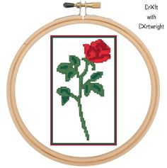 Cross stitch single red rose, valentine, PDF pattern. Instant download. by CraftwithCartwright on Etsy