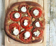 Tomato, Garlic, Mozzarella, Dried Basil on 100% Whole Wheat Crust Pizza