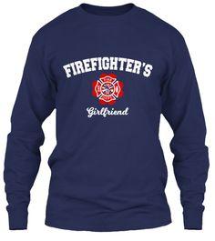 Firefighter's Girlfriend Navy T-Shirt Front