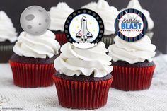 Space Shuttle / Astronaut Cupcake Toppers - Printable Party decorations - Moon - Nasa - Boys Birthday Party - Boy Party Ideas and Decorations - DIY - Cupcake Picks - Paper Straw decorations - Red White Blue - Black & Grey - Etsy.com - Rocket Party