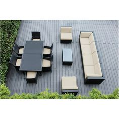 Ohana Outdoor Patio 14 Piece Black Wicker Sofa and Dining Set with Cushions