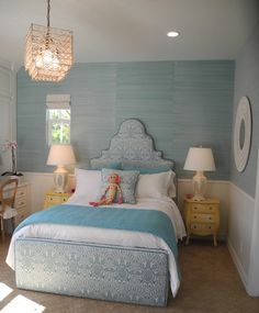 """upholstered bed in """"pina"""" by quadrille + bermuda hemp grasscloth wall covering in turquoise by phillip jeffries. pacific family homes."""
