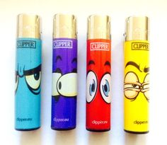 4 x CLIPPER ORIGINAL  FUN SURPRISE FROWN EYES DESIGN  GAS REFILLABLE LIGHTER