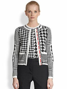 Thom Browne Silk & Cashmere Prince Of Wales Cardigan