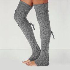 80s Slouchy Knee High Hi Leg Warmer Warm Opaque Acrylic Ribbed Hosiery Sock OS