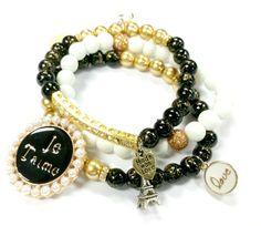 Paris Black and Gold Charm Beaded Bracelets by RandRsWristCandy