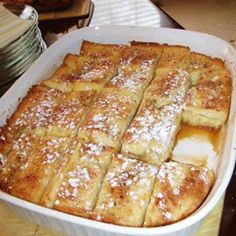 French Toast Bake - I highly reccommend this recipe! I made it today and everyone LOVED it! No syrup required; it was sooo good!