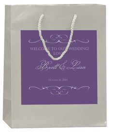 Custom Silver Text on Purple on Silver Wedding Welcome Bag by 4WeddingWelcomeBags, $50.00 for 20 bags
