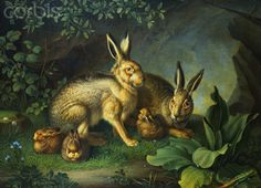 Bunny family...actually...Hares and Leverets in a Rocky Lair by Wenzel Peter.
