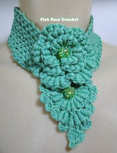 PINK ROSE CROCHET /: Colar Beverly - Crochet Flower Necklace