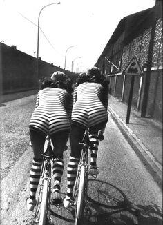 Stripes. Bikes. (helmut newton, french vogue, 1971)