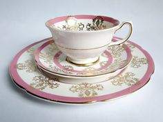 Pink Teacup and Saucer Trio Set  Vintage Tea by SwirlingOrange11, $68.00