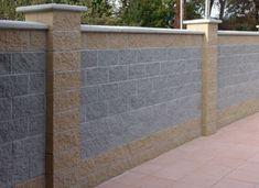 Concrete Fence Wall, Concrete Block Walls, Cinder Block Walls, Brick Fence, Front Wall Design, House Fence Design, Modern Fence Design, Exterior Wall Cladding, Exterior Wall Design