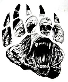 crawling-bear-face-in-paw-print-tattoo-design.jpg (600×720)