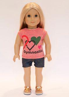 American Girl doll upcycled gymnastics t shirt by EverydayDollwear, $10.50