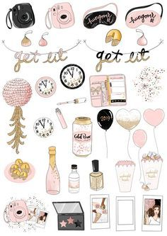 Get Lit Clip Art New Years 2019 Party Birthday Fashion Journal Stickers, Planner Stickers, Printable Stickers, Cute Stickers, Birthday Fashion, Snapchat Stickers, Tumblr Stickers, Bullet Journal Ideas Pages, Aesthetic Stickers