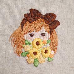ひまわりと女の子 | * Slow life * Portrait Embroidery, Creative Embroidery, Modern Embroidery, Hand Embroidery Designs, Beaded Embroidery, Cross Stitch Embroidery, Embroidery Patterns, Diy Crafts Jewelry, Brooches Handmade