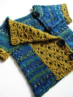 Top-down cardigan  - cute idea for using up yarn, when you don't have enough (or when dye lots don't match!)  Knit cardi with narrow front, then pick up in an alternate yarn for asymmetric closure and trim sleeves. Cute idea.