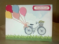 A great ride... by Jeanie Tavitas-Williams (MS balloon punch, TE grass die, SU!  Teeny Tiny Wishes, Hero Arts bicycle stamp) #stampinup #tayloredexpressions #marthastewart